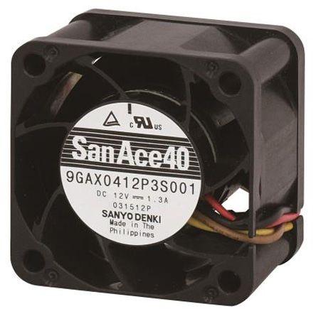 Sanyo Denki Axial Fan, 40 x 40 x 28mm, 48.6m³/h, 11.04W, 12 V dc (San Ace 9GAX Series)