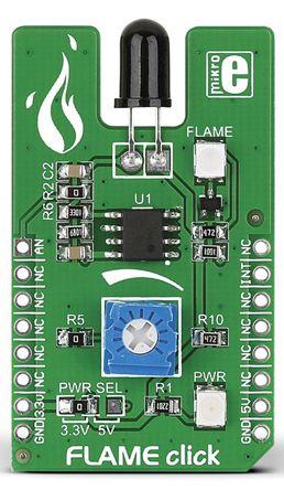 MikroElektronika MIKROE-1820, Flame Click Flame Sensor mikroBus Click Board for PT334-6B