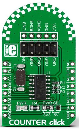MikroElektronika MIKROE-1917 Counter Click 32-Bit ADC Add On Board for LS7366R for LS7366R 32-Bit Quadrature Counter