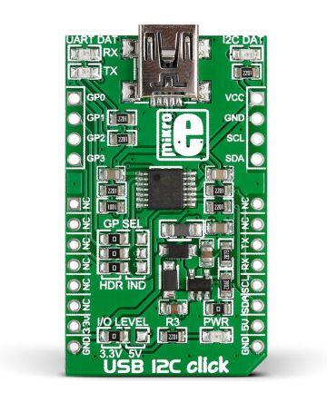 MikroElektronika, USB 12C click USB to I2C, USB to UART Development Board for MCP2221 for mikroBUS, MIKROE-1985