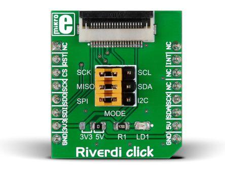MikroElektronika, Riverdi click I2C, SPI Development Board for FT8xx, zif20 for mikroBUS, MIKROE-2100