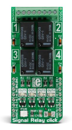 MikroElektronika MIKROE-2154 Signal Relay Click for GV5-1 for Alarm Units, Heaters, Home Automation Devices, Lamps