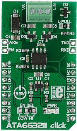 MikroElektronika, ATA663211 click UART Transceiver (Dual) Development Board for ATA663211 for mikroBUS, MIKROE-2335