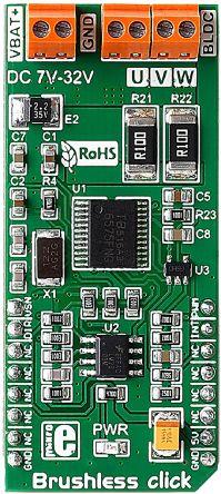 1360849  MikroElektronika 评估测试板, 用于开发汽车工业、电池供电系统、计算机、无人机、HVAC 系统、医疗设备、机器人、计算机用小型冷却风扇、小型家用电器、玩具, mikroBus 咔哒板,