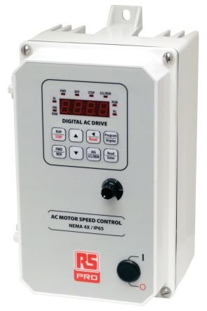 RS PRO Inverter Drive, 3-Phase In, 50  60Hz Out 0.75 kW, 230 V ac, 3.6 A, IP65 (Food Grade)
