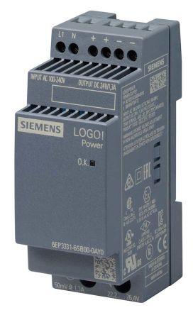 Power Supply; AC-DC; 24V; 1.3A; 100-240V In; Din Rail Mount; LOGO! 4th Gen