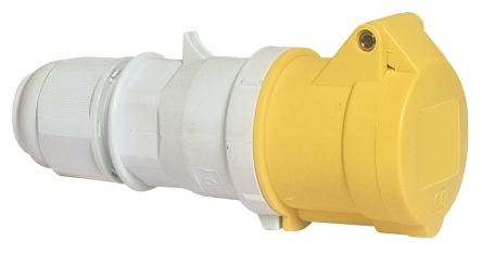 Bals IP44 Yellow Cable Mount 2P+E Industrial Power, Rated At 16A, 110 V