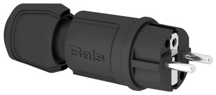Bals IP44 Black Cable Mount 2P+E Industrial Power Plug, Rated At 16A, 250 V