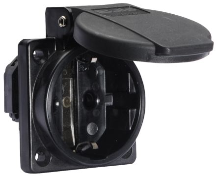 Bals IP54 Black Panel Mount 2P+E Industrial Power, Rated At 16A, 250 V