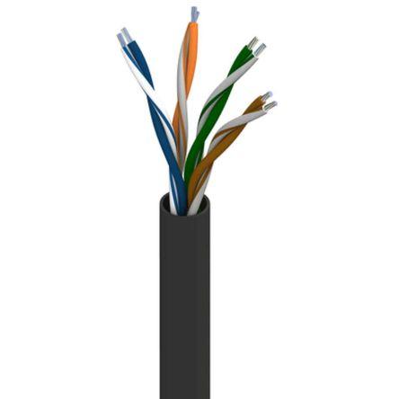 Belden Black PVC Cat5e Cable Unshielded, 1000ft Unterminated