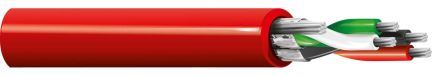 Belden Red 88723 Installation Cable, Aluminium/Polyester Foil 3.76mm OD 22 AWG 300 V ac 152m