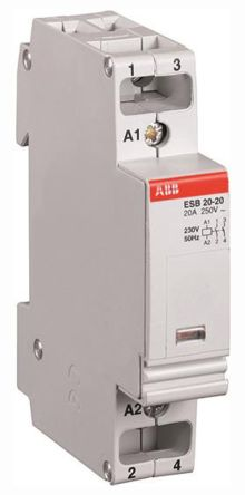 ESB 2 Pole Contactor, NO/NC, 20 A, 1.1 kW, 230 V @ 50 Hz, 264 V @ 60 Hz Coil, Screw Terminal