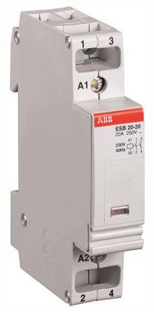 ABB ESB 2 Pole Contactor, NO/NC, 20 A, 1.1 kW, 230 V @ 50 Hz, 264 V @ 60 Hz Coil