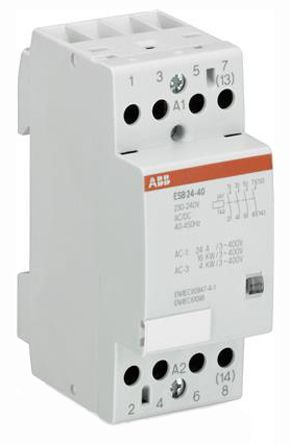 ESB 4 Pole Contactor, 4NO, 24 A, 4 kW, 24 V @ 50 Hz, 28 V @ 60 Hz Coil, Screw Terminal