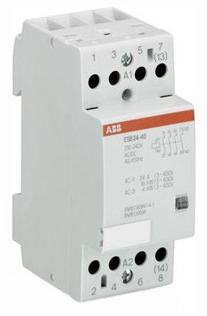 ESB 4 Pole Contactor, 4NO, 24 A, 4 kW, 230 V @ 50 Hz, 264 V @ 60 Hz Coil, Screw Terminal