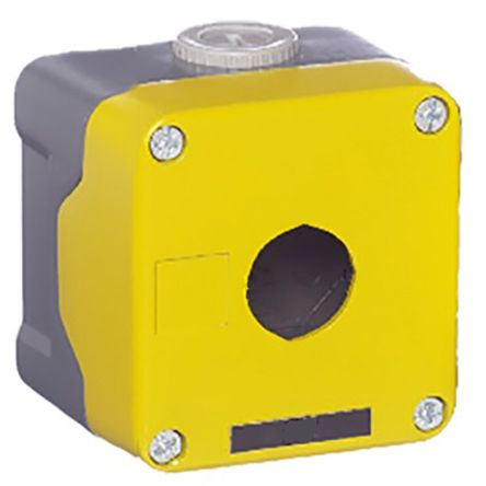 RS Pro Push Button Enclosure, 1 Hole Yellow, 22.5mm diameter TC Die Cast Aluminium