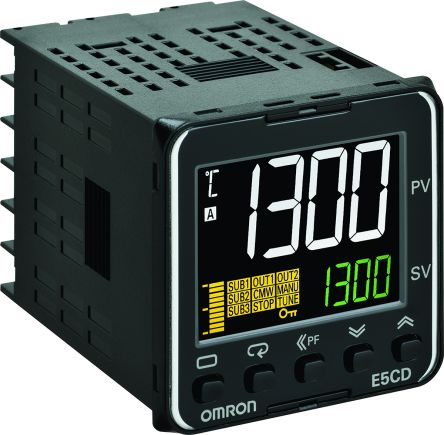 Omron E5CD Panel Mount PID Temperature Controller, 48 x 48mm 2 Input, 2 Output PNP, SSR, 24 V ac/dc Supply Voltage
