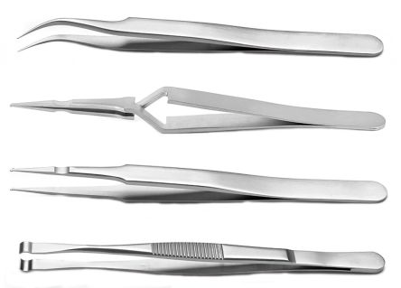 4 piece Stainless Steel Tweezer Set With Various Contents product photo