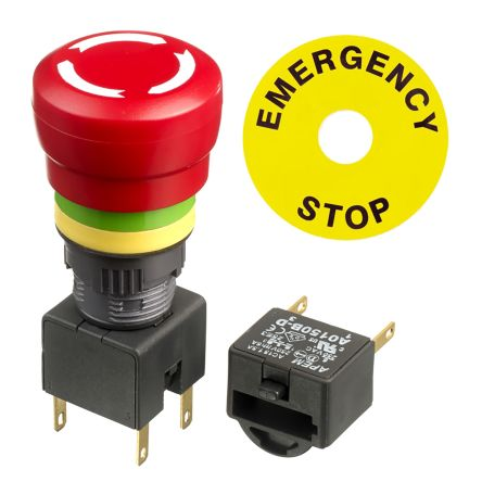 Apem, Red, Turn to Release 27.42mm Smooth Head Emergency Button product photo