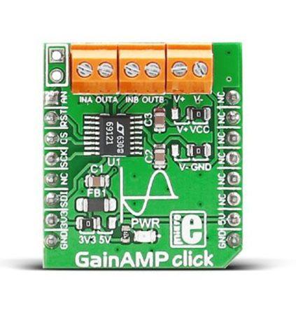 MikroElektronika MIKROE-2555, GainAMP click Programmable Gain Amplifier Amplifier Board