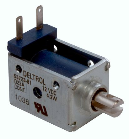 Linear Solenoid Actuator, 12 V dc, 30oz, 1.8 (Stroke oz @ 0.25 in), 23.11 x 31.88 x 19.02 mm product photo