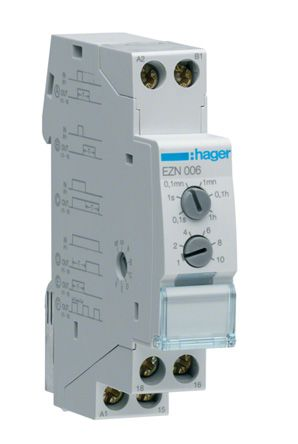 Hager 6 Time Delay Relay, , 0.1 s → 10 h, SPDT, 1 Contacts, SPDT, on