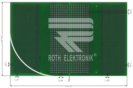 RE620-LF, Double Sided Eurocard FR4 With 25 x 75, 7 x 37 0.3 mm, 1.1 mm Holes, 1.25 x 1.25 mm, 1.27 x 1.27 mm, 2.54 x