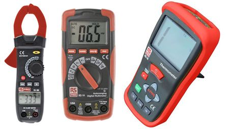 RS Pro RS14 Digital Multimeter, RS380 Clampmeter, RS42 Digital Thermometer Multimeter Kit