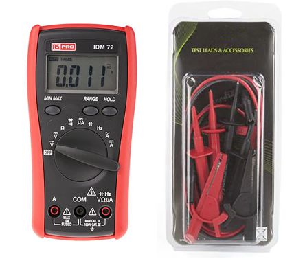 RS Pro Test Lead Set and IDM72 Multimeter Kit