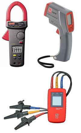 RS Pro ICM139R, RS1327K, RS9010 ICM139 Clampmeter, RS1327K IR Thermometer & RS9010 Phase Rotation Indicator