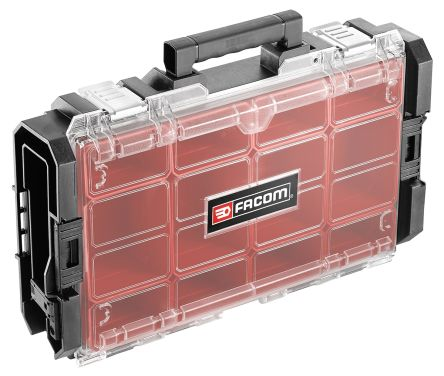 Facom 12 Cell Black, Red PC Compartment Box, 116mm x 552mm x 335mm
