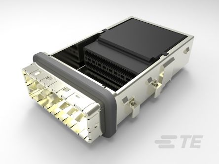 TE Connectivity CDFP Series 60 Way 1 Port Female Right Angle Cage Assembly 0.75mm Pitch Press-In Termination