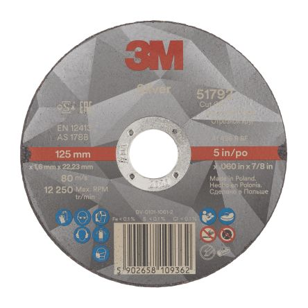 3M T41 Silver Cutting Disc, 125mm Diameter, 1.6mm Thick