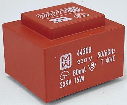 Myrra 44308 Trasformatore 2 x 9V 230V 16VA