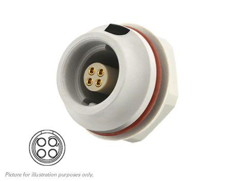 Souriau, 4 contacts Front Mount Socket Crimp IP68