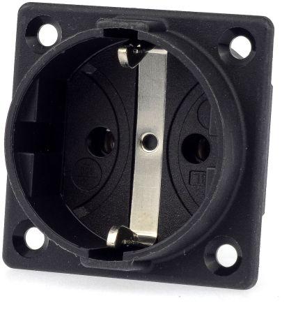 ABL Sursum Black Plug Socket, 2P + PE Poles, 16A, Schuko