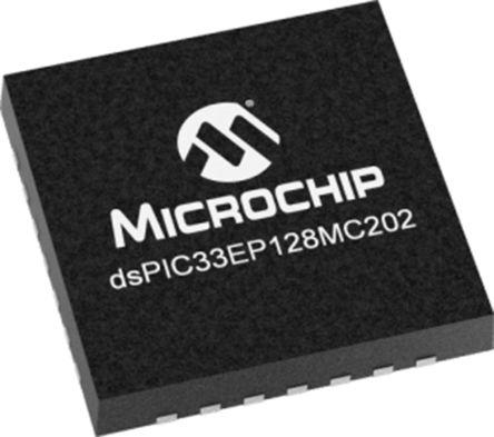 DSPIC33EP128MC202-I/MM Microchip DSPIC, 16bit Digital Signal Processor 60MHz 128 kB Flash 28-Pin QFN