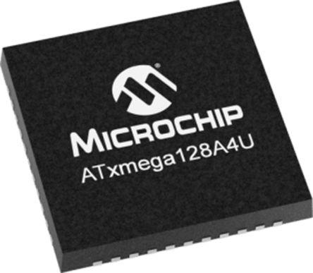 Microchip ATXMEGA128A4U-MHR, 8 bit, 16 bit AVR Microcontroller, ATXMEGA, 32MHz, 128 kB Flash, 44-Pin VQFN