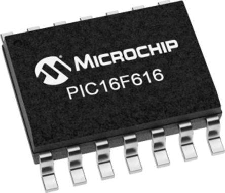 Microchip PIC16F616T-I/SL, 8bit PIC Microcontroller, PIC16F, 20MHz, 3.5 kB Flash, 14-Pin SOIC