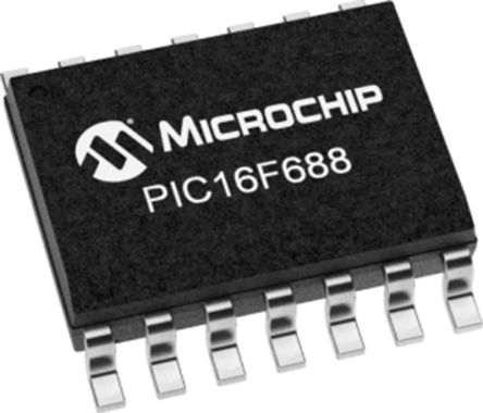 PIC16F688T-I/SL, 8bit PIC Microcontroller, 20MHz, 7 kB Flash, 14-Pin SOIC product photo