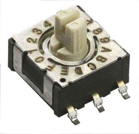 4 Way Through Hole DIP Switch, Knurled Slotted Shaft Actuator