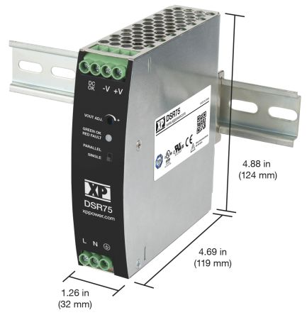 XP Power, DSR75 DIN Rail Power Supply, 24V dc Output Voltage, 3.2A Output Current