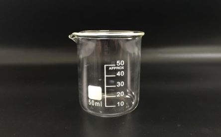 Low form beaker w/white graduations,50ml