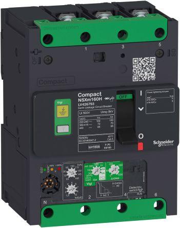 3 160 A MCCB Molded Case Circuit Breaker, Breaking Capacity 10 kA, Screw Compact NSXm