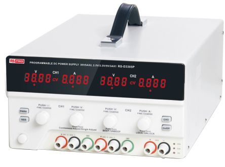 RS PRO Digital Bench Power Supply, 3 Output 0 → 30V 0 → 5 (Adjustable) A, 3(Fixed) A With UKAS Calibration