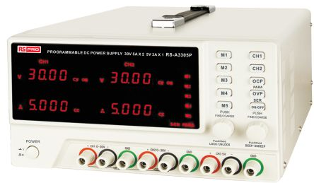 RS PRO Digital Bench Power Supply, 3 Output 0 → 30V 0 → 5 (Adjustable) A, 3 (Fixed) A With UKAS