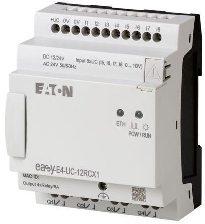 Eaton EASY-E4 Logic Module, 12/24 V dc Relay, 4 (Analogue), 8 (Digital) x Input, 4 x Output