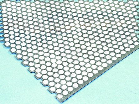 Perforated Steel Sheet, 6 mm Hex, 6 mm Hole, 1m x 500mm x 0.55mm