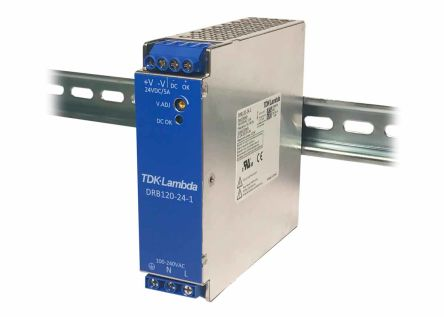 TDK-Lambda DIN Rail Panel Mount Power Supply - 85 → 264V ac Input Voltage, 24V dc Output Voltage, 5A Output