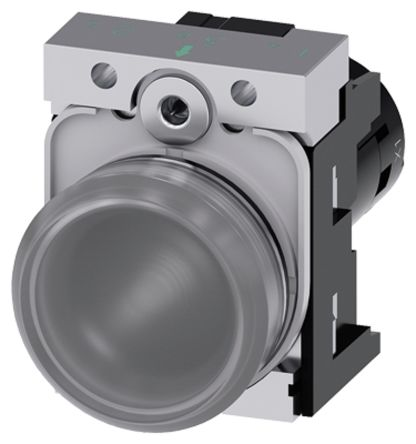 Siemens 3SU1251 Clear LED Pilot Light Complete, IP20, IP66, IP67, IP69, IP69K, Round, 24 V ac/dc, 40 mA